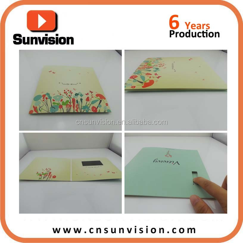 Automatic Play 7 LCD Display Video Greeting Cards Music Weeding Invitation Card