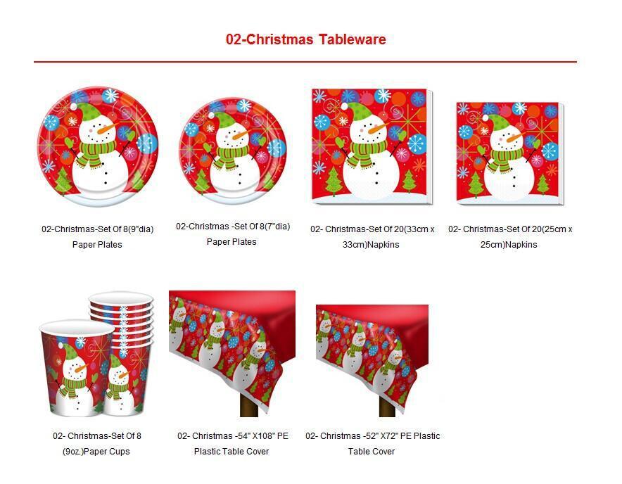 Christmas symbols Antelope Santa Claus Snowman Tree Tableware ...