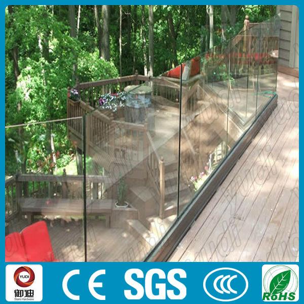 U Channel Aluminium Frameless Glass Railing For Deck/balcony