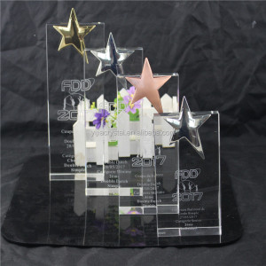 Creative design crystal award crystal five-star trophy and crystal crafts