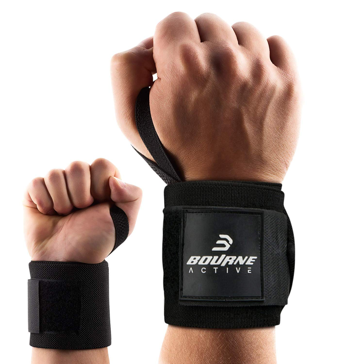 d25a0cbbcd Get Quotations · Bourne Active Wrist Wraps Weightlifting, Powerlifting,  Cross Training, Bodybuilding with Thumb Loop.