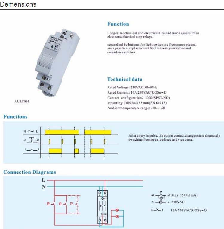 Ourtop Digital Over Current Step Relays 5060hz Electronic Latching