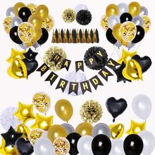 90 pcs Happy Birthday Banner Star Heart Foil Balloons, 18th 20th 30th 40th 50th 60th 70th  Black and Gold Party Decorations set