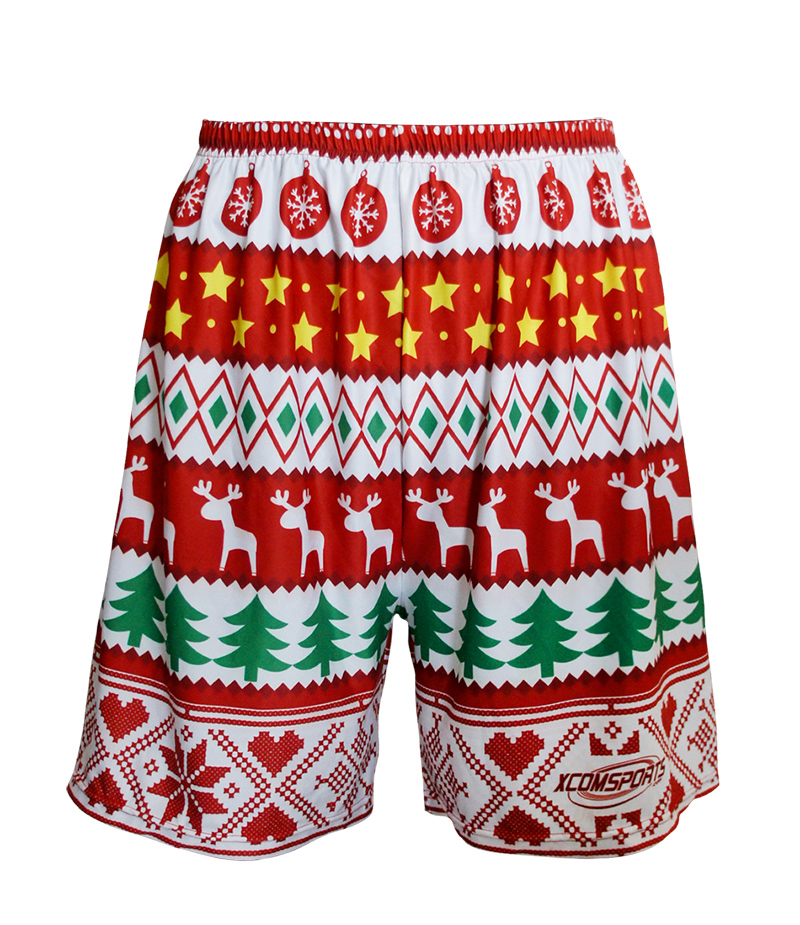 X-COM High Quality Quick Dry Colorful Christmas Design Sublimation Sports Shorts