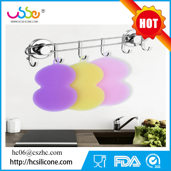 2017 Heat Resistant Dishwashing Holder Scourer Custom Washing Wholesale Dish Cleaning Kitchen Silicone Sponge Scrubber