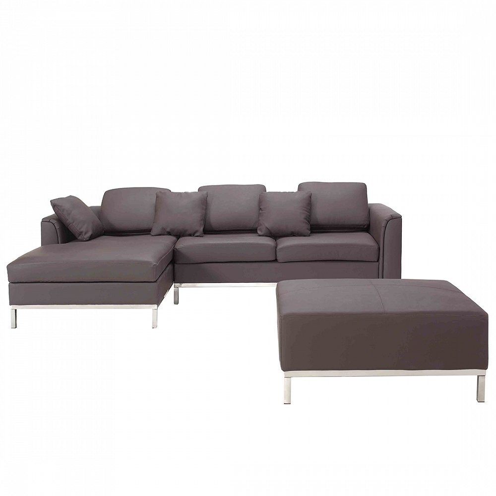 Velago Ollon Brown R Modern Sectional Sofa Genuine Leather with Ottoman
