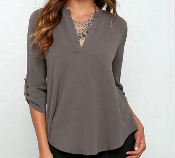 Women's Summer V Neck Solid Loose Casual Cuffed Long Sleeve