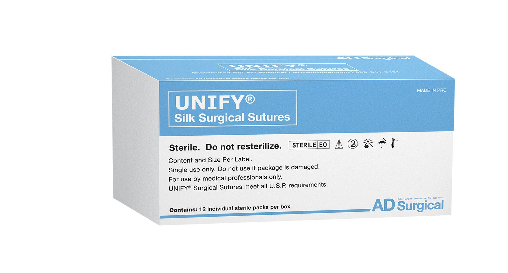 "UNIFY Surgical Silk Sutures. #M-S418R19 Non-Absorbable. Braided Black. Size 4/0. 18""45cm Thread. 19mm 3/8 Circle R/C Needle (FS-2/C-6). 12 Foil Packs/Box."