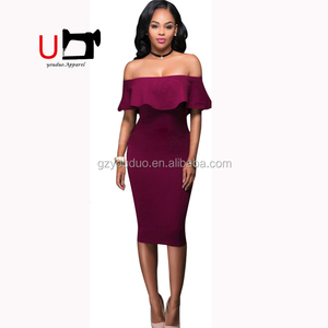 Europe Off Shoulder Ruffle Collar Plain Color Knee Length Pencil Dress Sexy