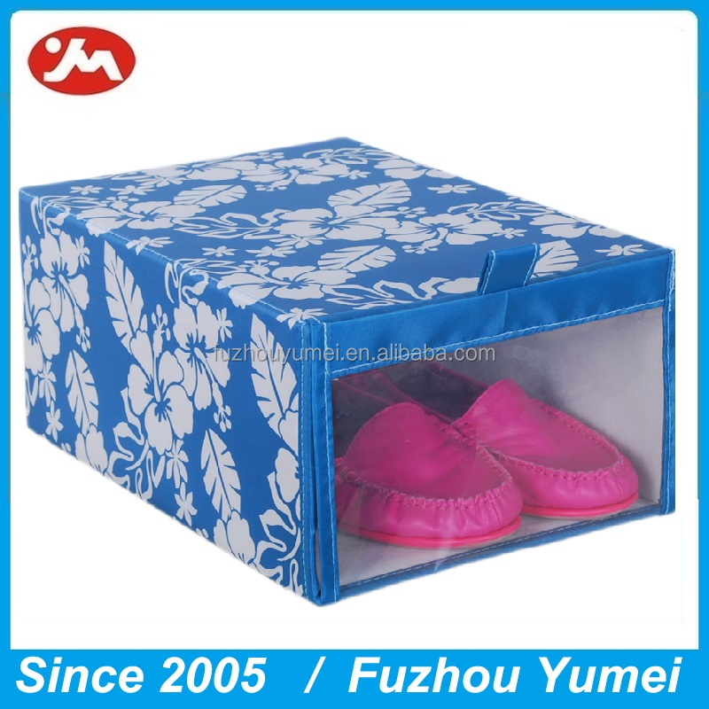 New style 210D Fabric foldable clear shoes storage box