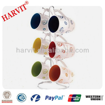 Kitchen Simple Style 6 Hook Wall Mounted Mug Rack Vertical Hanging Decorative Coffee Holder