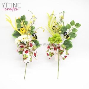 Yellow & Green Easter Bees Berry and Green leaf Floral Picks and Sprays