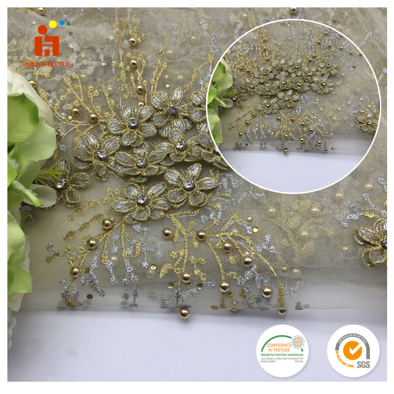 Shaoxing fabric Good quality heavy 3d flower floral tulle beaded embroidered fabric for dress