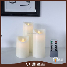High quality new technology wax pillar led candles with remote control