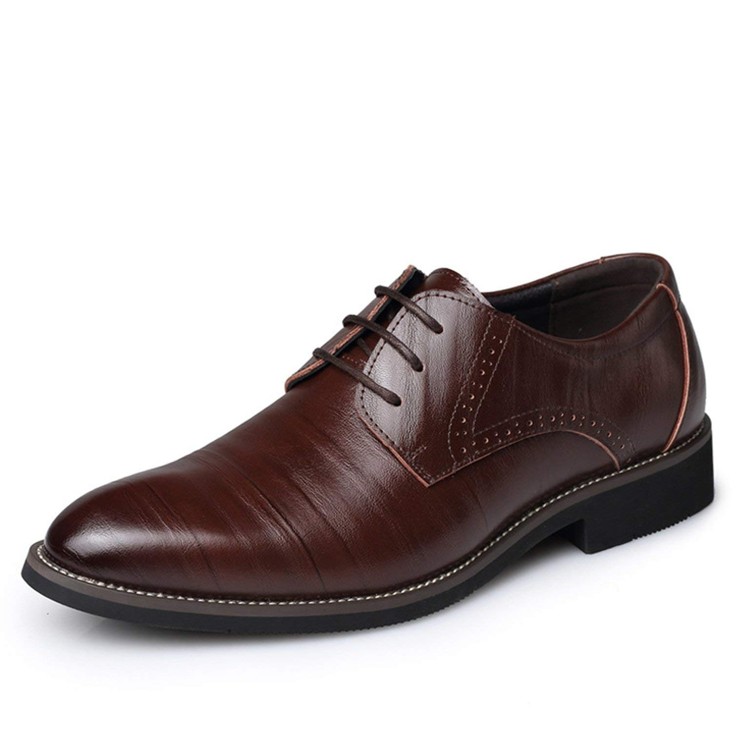 Memoriesed Big Size 37-48 Oxfords Leather Men Shoes Fashion Casual Pointed Top Formal,Dark Brown,10