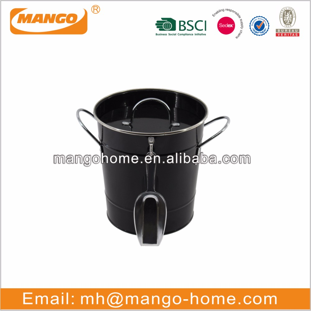 Black painting galvanized steel metal storage ice bucket with scoop with lid