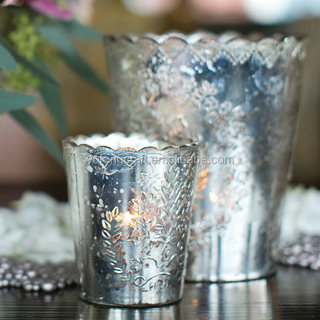 Rhinestone Votive Holders Silver glass candle holder decoration articles