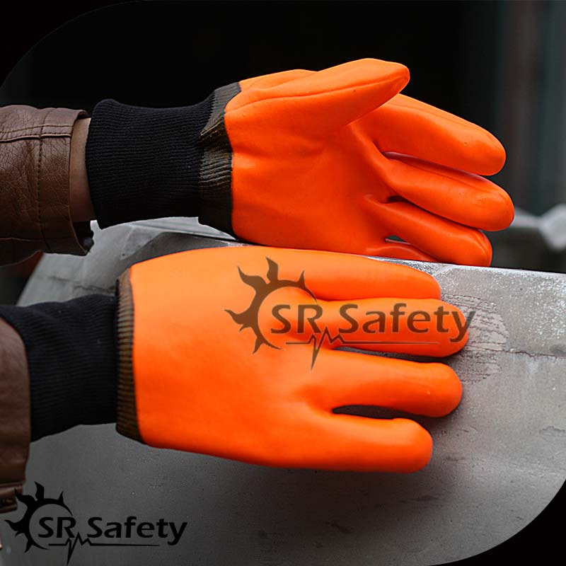 SRSAFETY chemical safety working pvc gloves LOGO customization yarn knitted machines