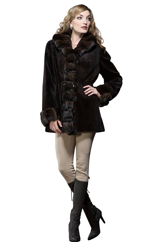 EM-EL Women's Reversible Brown Sheared Mink and Chinchilla Fur Jacket