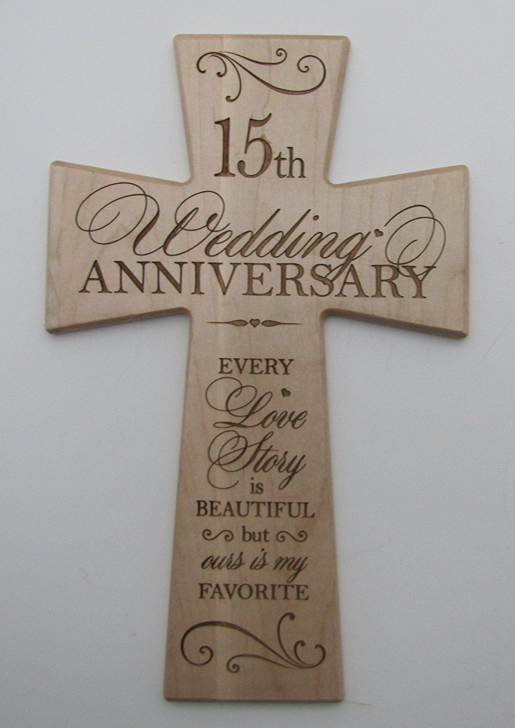 Buy 15th Wedding Anniversary Maple Wood Wall Cross Gift For Couple