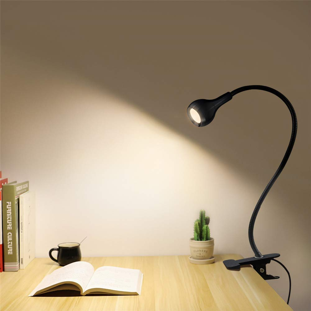 LED Desk Lamp with Clip, LEDTable Lamp with USB Charging Port, AIMENGTE 1 W Portable LED Reading Lamp, 360° Free Bending Flexible Eye-Caring Study Book Soft Light. (Black, Warm White)