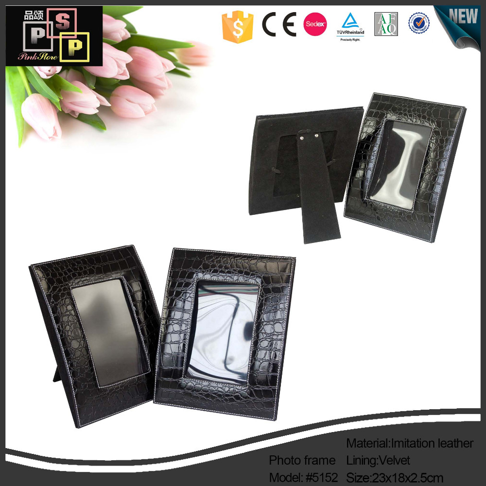 personalized customized custom luxury black  vintage handmade embossed faux leather photo frame