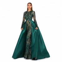 ZNK04 Real Sample Arabic Long Sleeve Sparkling Detachable Skirt Luxury Evening Dresses