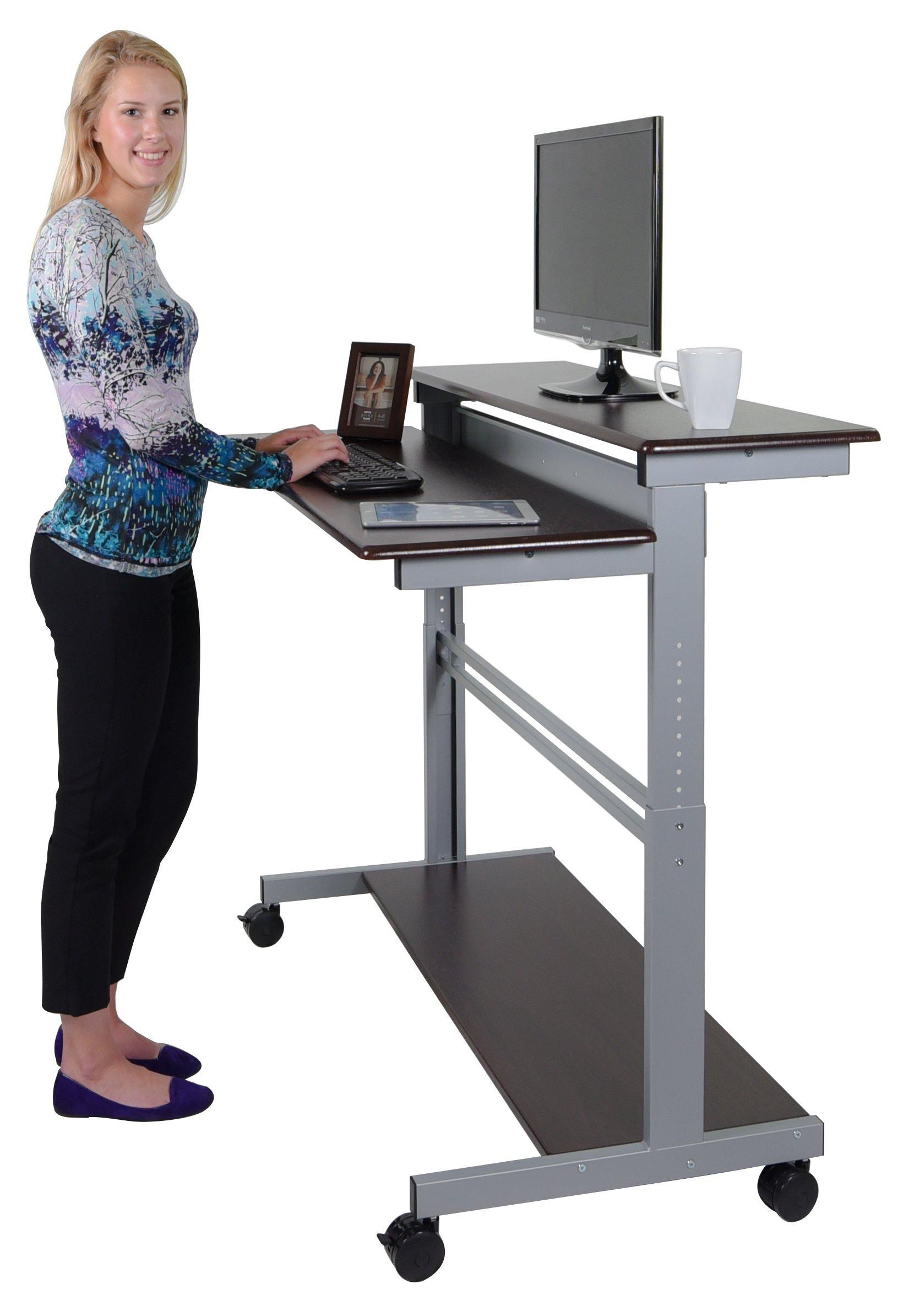 """48"""" Shelves Mobile Ergonomic Stand Up Desk Computer Workstation (Dark Walnut Shelves/Silver Frame)"""