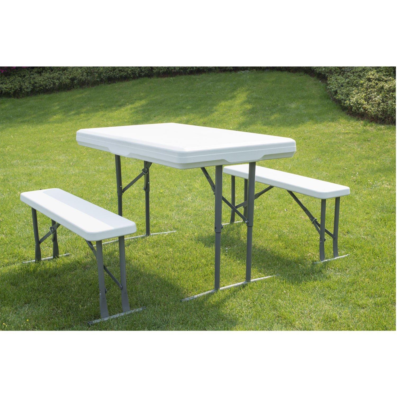 Get Quotations · GHP White Plastic Portable Utility Folding Picnic Table U0026  Bench Set