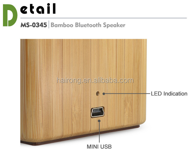 Patent Indoor and Ourdoor use Wood wireless Speaker Cabinets Natural Bamboo stereo Bluetooth speaker CE, ROHS