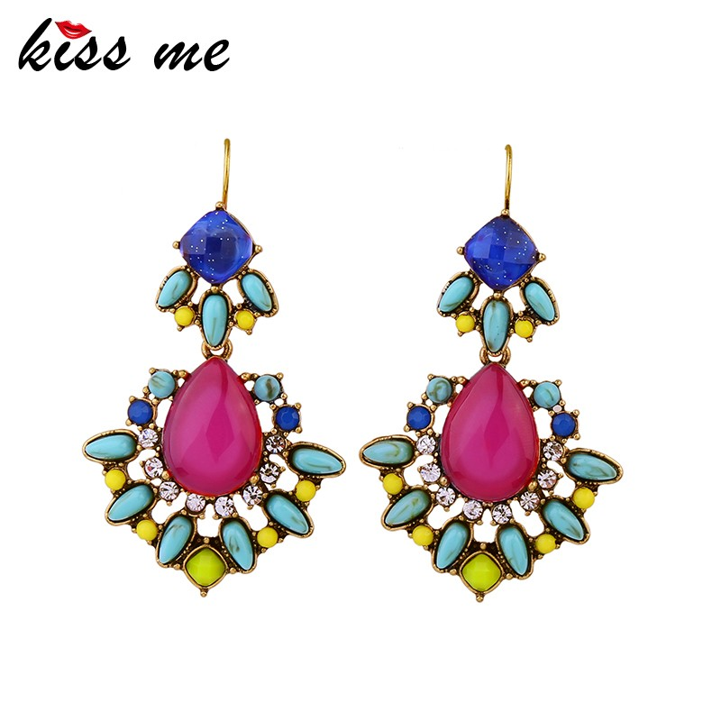 New 2016 Latest Boho Colorful Resin Women Fashion Earrings