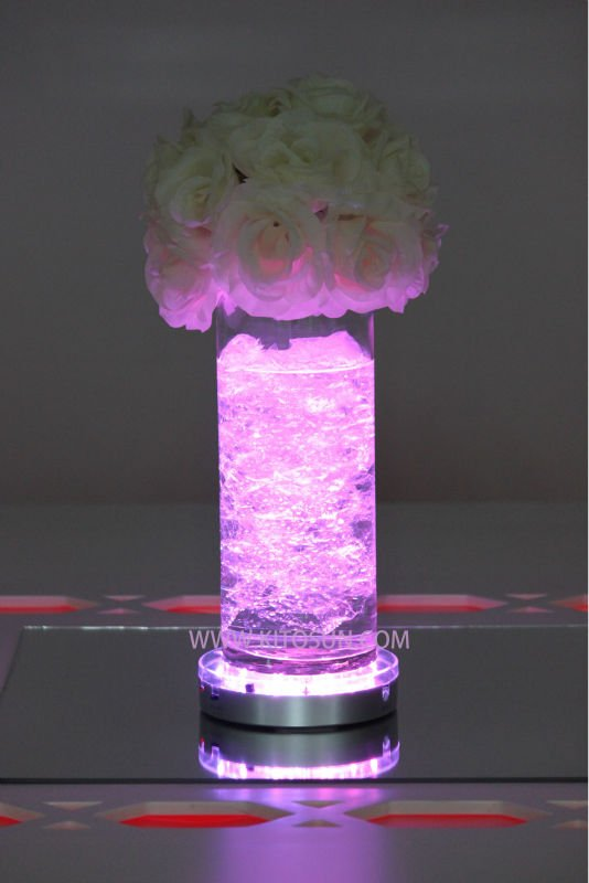 Crystal Table Centerpieces Mirror Round Led Battery Operated Under