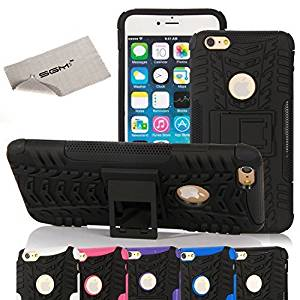 "6 Plus Case, iPhone 6 Plus Case, SGM (TM) Solid Grip [Rugged] Hybrid Armor Case for iPhone 6 Plus 5.5"" [Kickstand] + SGM (TM) Microfiber Cleaning Cloth (Black + Black)"