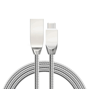 zinc alloy braided usb charging cable/unbreakable metal connector hose spring data charger cable for iphone micro type-c