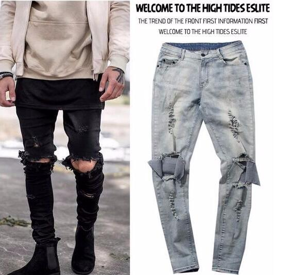 New 2016 Kanye West Skinny Ripped Jeans For Men Male Black ...