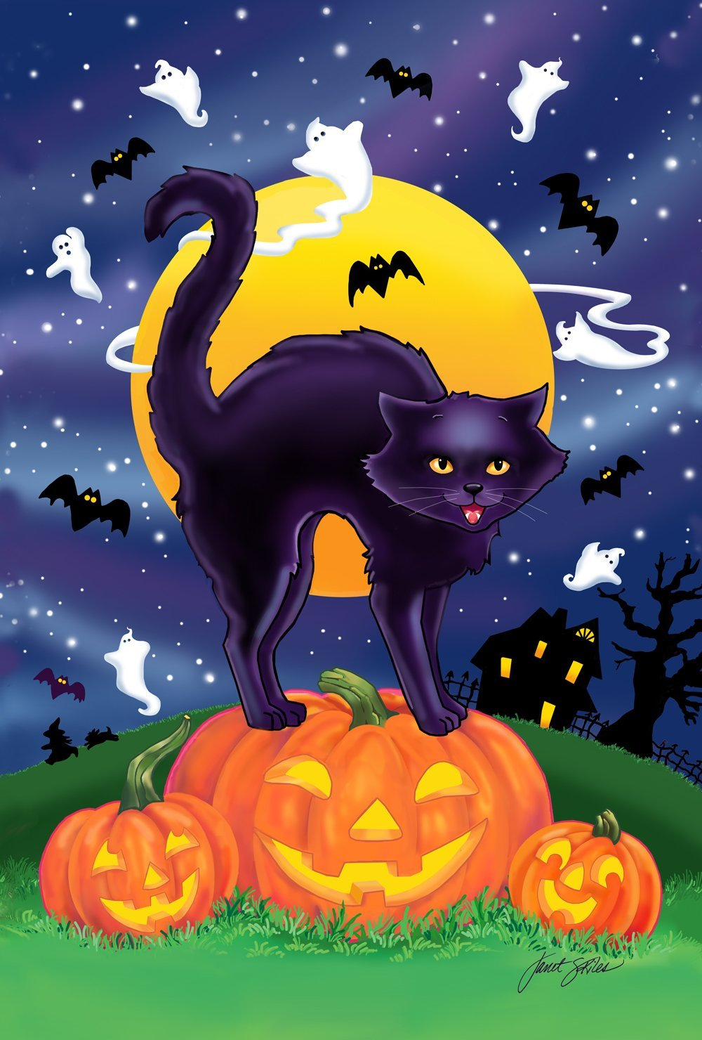 Toland Home Garden Black Cat 12.5 x 18 Inch Decorative Halloween Kitty Pumpkin Garden Flag
