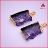 IN STOCK!!natural druzy raw amethyst slice pendants with gold or silver plated,rough cluster geode slice amethyst druzy pendants