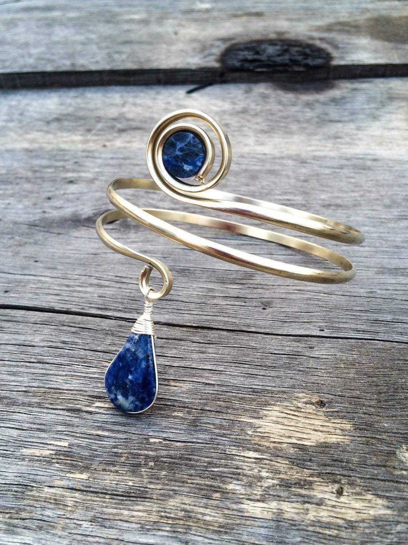 Lapis and Sodalite arm cuff, upper arm bracelet, Silver upper arm cuff, cuff bracelet, sexy arm cuff, body jewelry, blue stone, armlet, gift