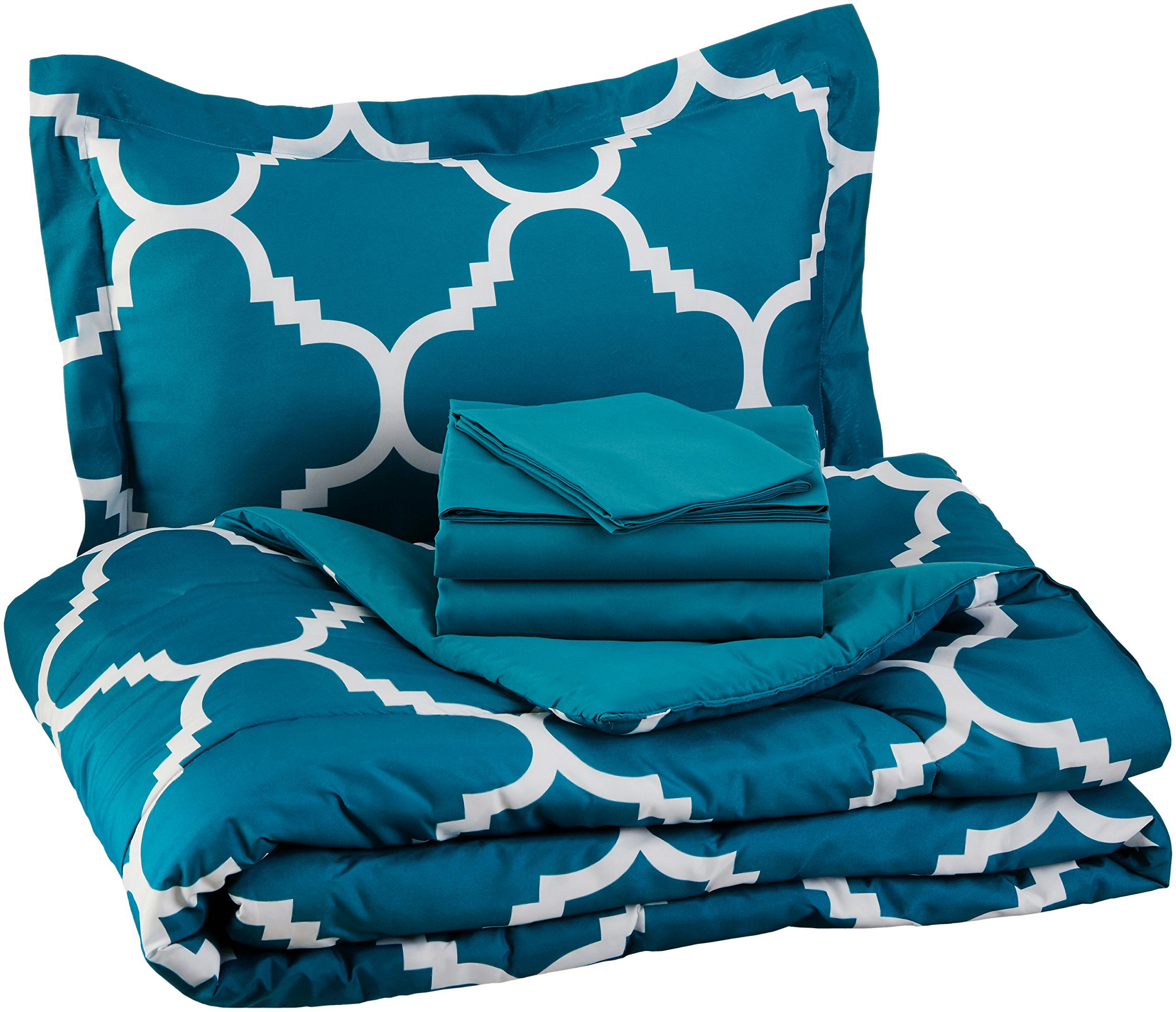 AmazonBasics 5-Piece Bed-In-A-Bag - Twin/Twin Extra-Long, Teal Trellis