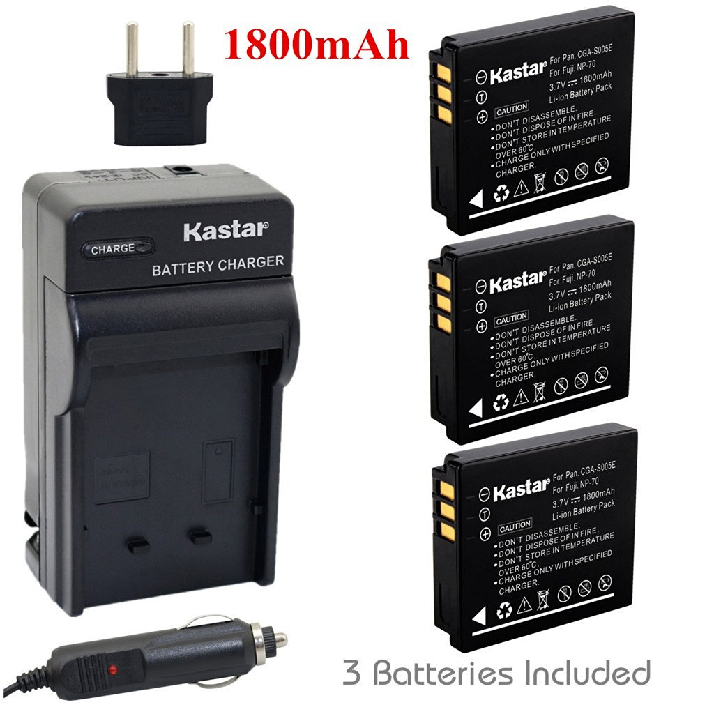Kastar Battery (3-Pack) and Charger Kit for Fujifilm NP-70, Panasonic Lumix CGA-S005, DMW-BCC12, DE-A12 work with Fuji FinePix F20, F20 Zoom, F40fd, F45fd, F47fd and Panasonic Lumix DMC-FS2, DMC-FX1, DMC-FX3, DMC-FX7, DMC-FX8, DMC-FX9, DMC-FX10(FX10GK), DMC-FX12, DMC-FX50, DMC-FX100, DMC-FX150,
