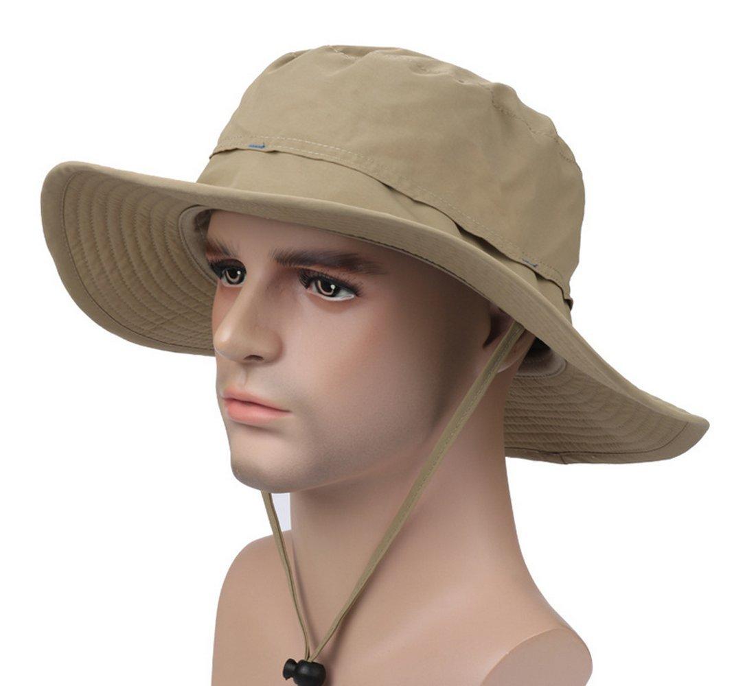 62be7583710 Get Quotations · YYGIFT® Unisex Wide Brim Sun Caps Sunblock Foldable  Fishing Hiking Hunting Outdoor Hats UPF50+ Sun