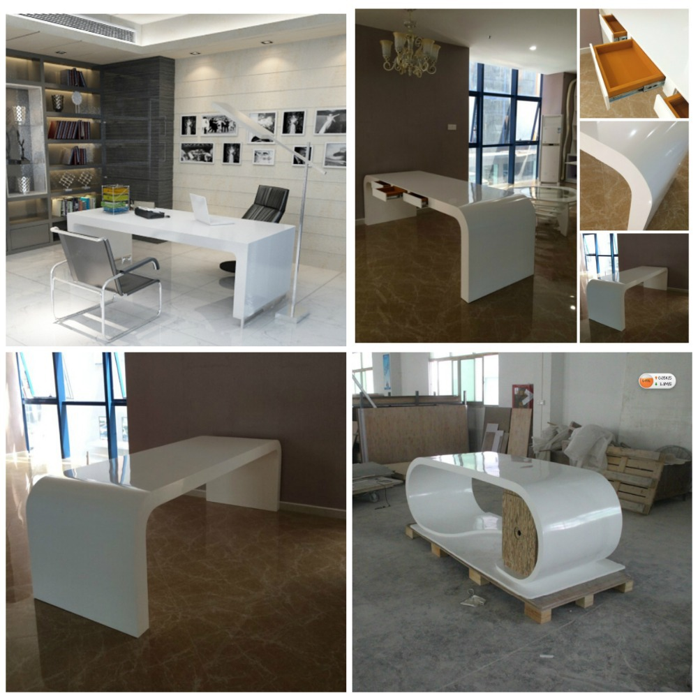 Acrylic Office Table, Marble Office Furniture, White Acrylic Desk