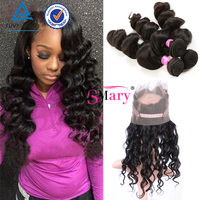 Cheap Indian High Quality Virgin Indian Loose Wave 100% Hair Extension Human With Silk 360 Lace Frontal