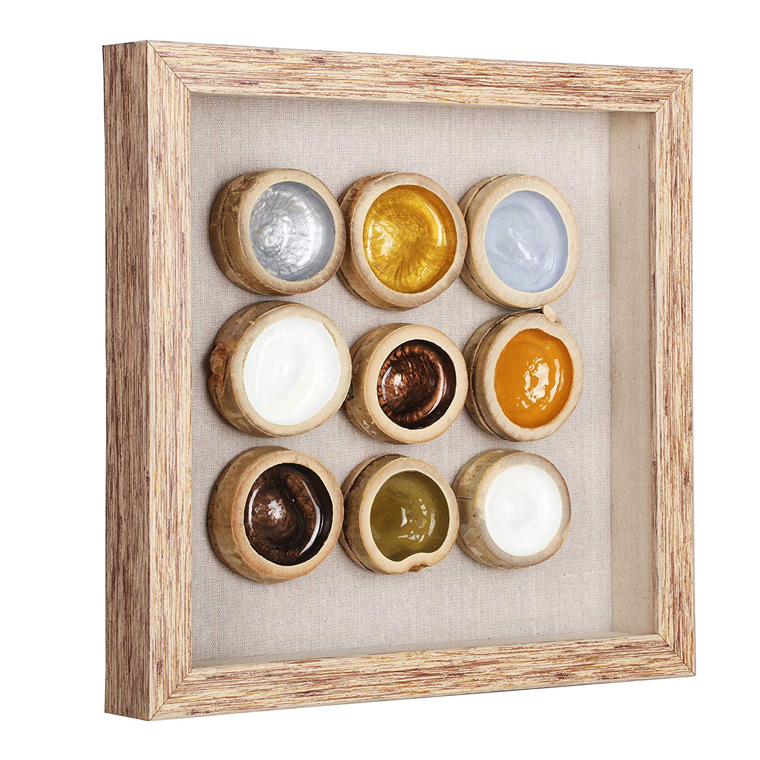 Shadow Box with Glass Cover, Natural Bamboo Art Frame for Wall Decor, 14 x 14 inch