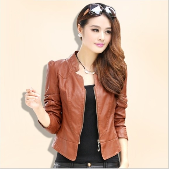 Women Jackets PU 2015 New Fashion Jackets Women Black Leather Jacket Outerwear Coats Oblique Zipper Slim PU Jacket L9655