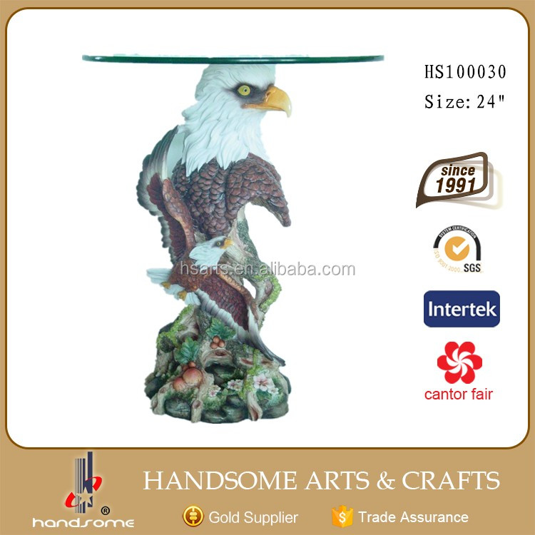 24 Inch Big Resin Home Decoration Animal Theme Eagle Head Glass Coffee Table