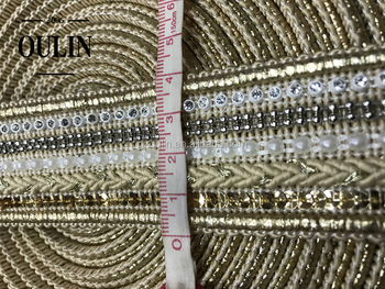 Pearl chain lace new design sequins lace factory price rhinestone lace for garments