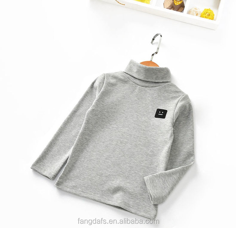 Children different color turtleneck tight long sleeved T-shirt in autumn and winter