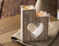 Rustic High Wooden Heart Shape Tealight Candle Holders for Holiday/ Wedding Decoration