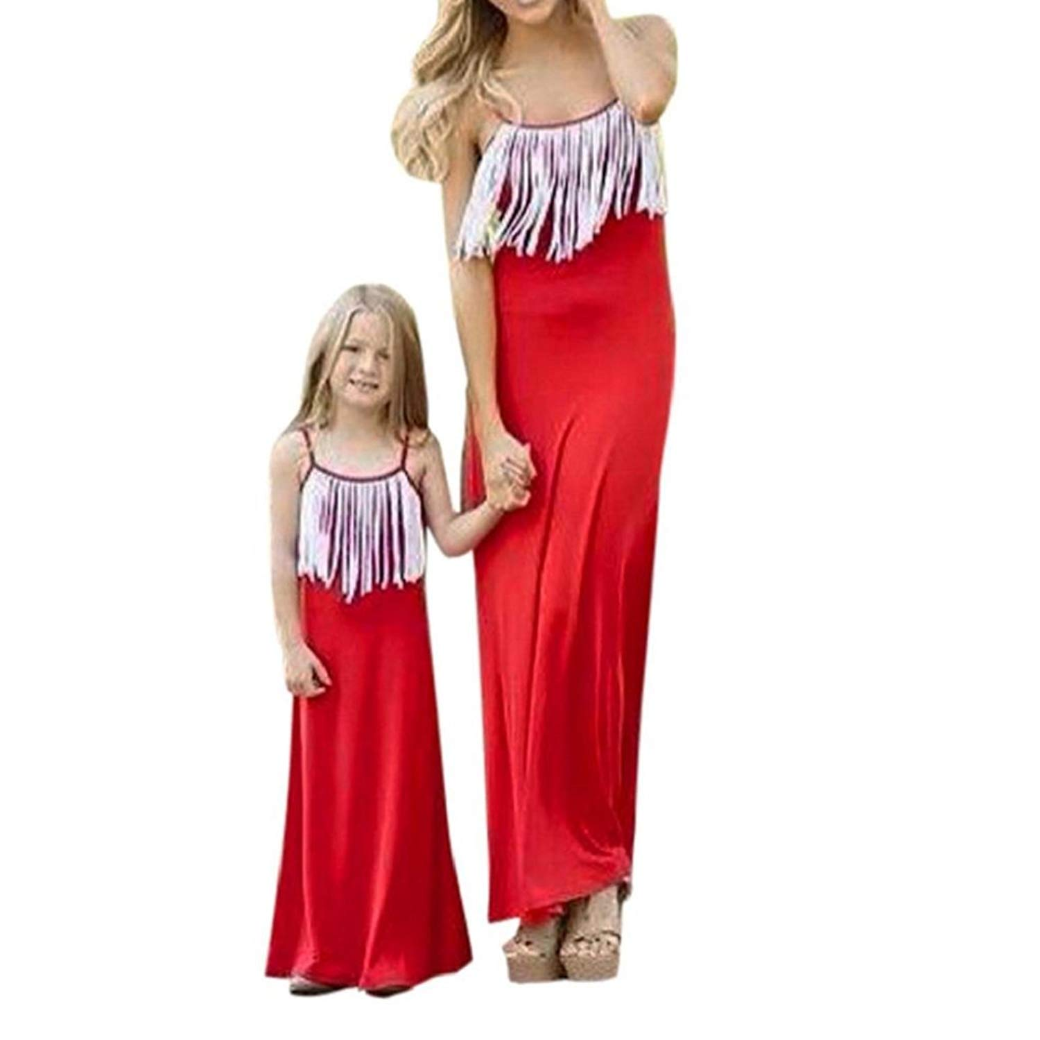 df95492f2a1c Get Quotations · Appoi Matching Dress for Mommy and Daughter Summer Dress  Sleeveless Strap Long Maxi Dress Mom&Me Family